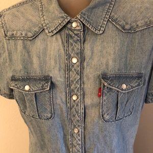 Levi's Cotton Denim Pearl Snap Western Shirt